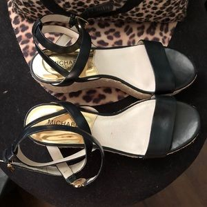 Michael Kors Leather Ankle Wrap Wedges
